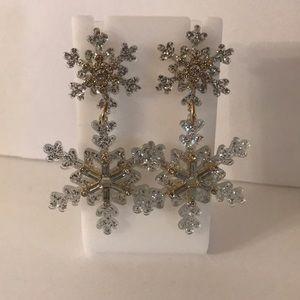 BAUBLEBAR Gold & Crystal Icicle Drop Earrings EUC
